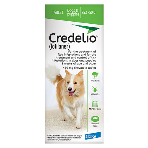 Credelio for Dogs 25 to 50 lbs (450mg) Green - Expiry Aug 2021