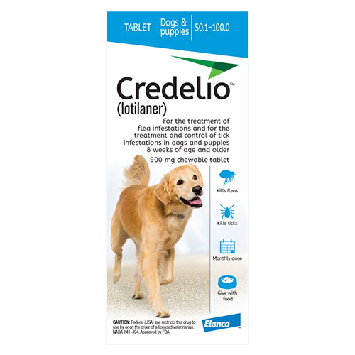 Credelio for Dogs 50 to 100 lbs (900mg) Blue - Expiry Aug 2021