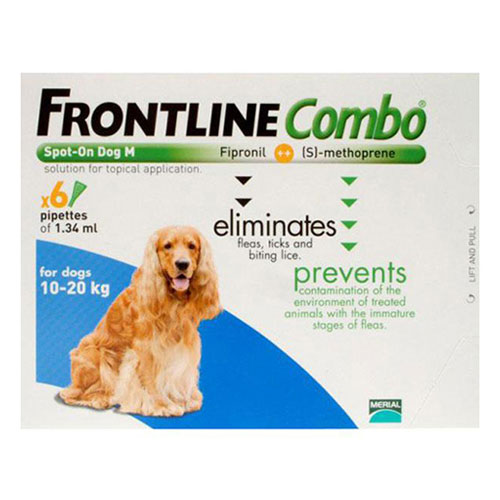 Frontline Plus (COMBO) for Medium Dogs 23-44 lbs (Blue) 6 Pipette
