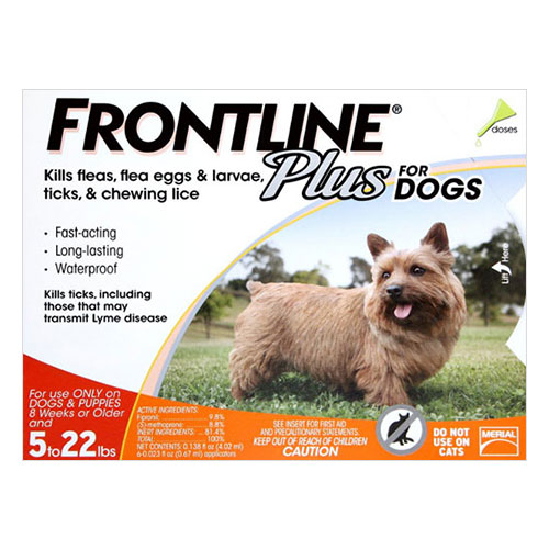 Frontline Plus Small Dogs up to 22lbs (Orange) 3 Doses