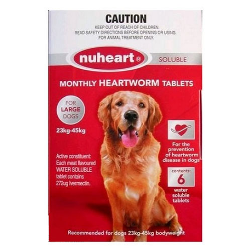 Heartgard Plus Generic Nuheart for Large Dogs 51-100lbs (Red) 6 Tablet