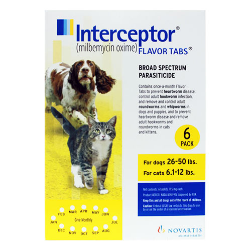 Interceptor Dogs 26-50 lbs (Yellow) 6 Chews