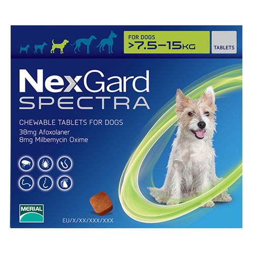 Nexgard Spectra for Medium Dogs 16.5-33 lbs Green