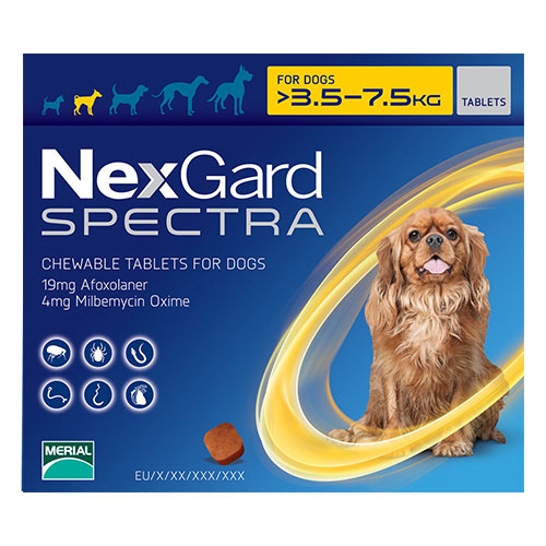 Nexgard Spectra for Small Dogs 7.7-16.5 lbs Yellow