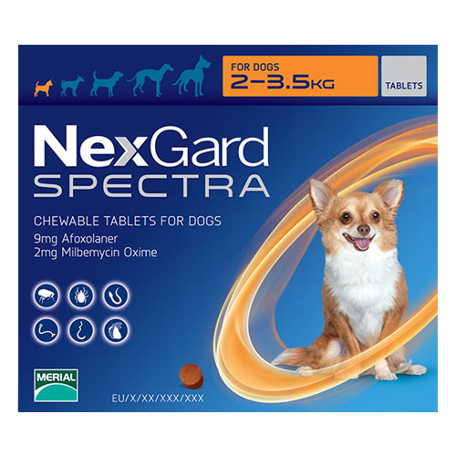 Nexgard Spectra for XSmall Dogs 4.4-7.7 lbs Orange