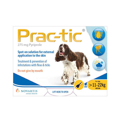 Prac-tic Spot On for Medium Dog: 25-50 lbs (Yellow) 6 Pack