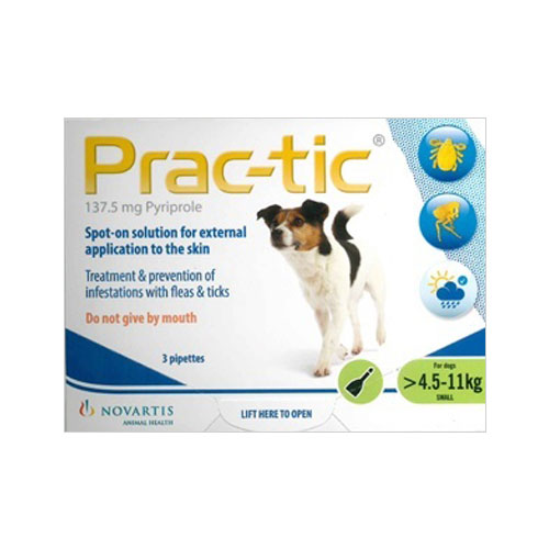 Prac-tic Spot On for Small Dog: 10-25 lbs (Green) 3 Pack