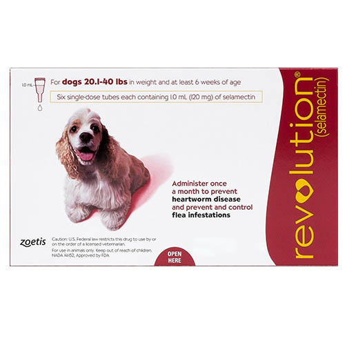 Revolution Medium Dogs 20.1-40lbs (Red) 12 Doses