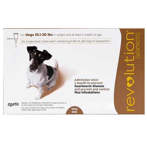 Revolution Small Dogs 10.1 - 20lbs (Brown) 3 Doses