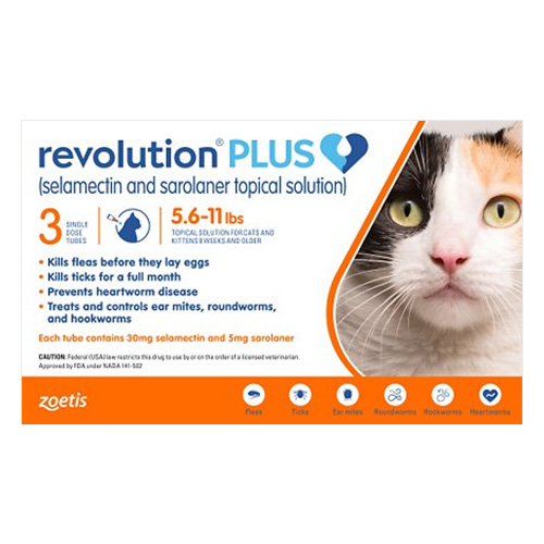 Revolution Plus for Medium Cats 5.5-11lbs (2.5-5Kg) Orange