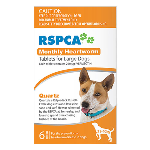 RSPCA Monthly Heartworm Tablets for Large Dogs 45-88lb (Orange) 6 Tablet