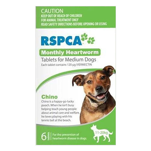 RSPCA Monthly Heartworm Tablets for Medium Dogs 23-44lb (Green) 6 Tablet