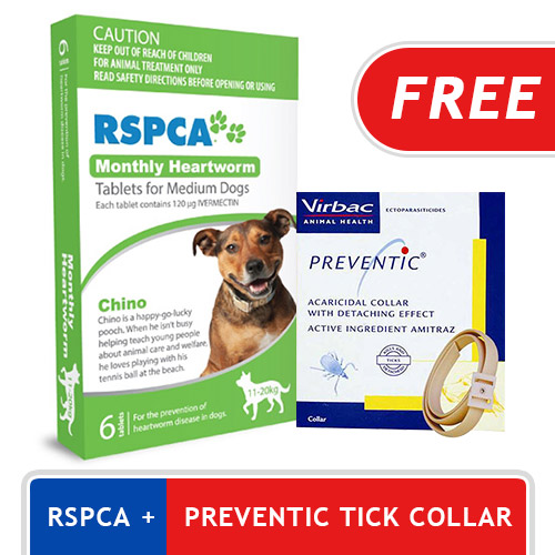 RSPCA Monthly Heartworm Tablets  Medium Dog 23-44lb (Green, 10-20kg)