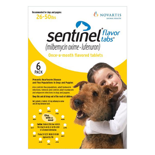 Sentinel dogs 26-50 lbs (Yellow) 12 Chews