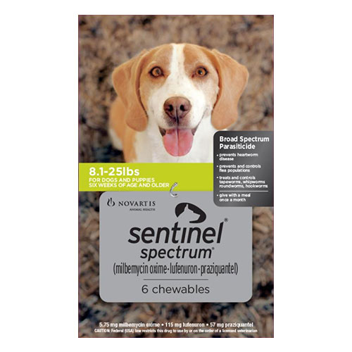 Sentinel Spectrum Chews for Dogs 8.1-25 lbs (Green) 6 Chews