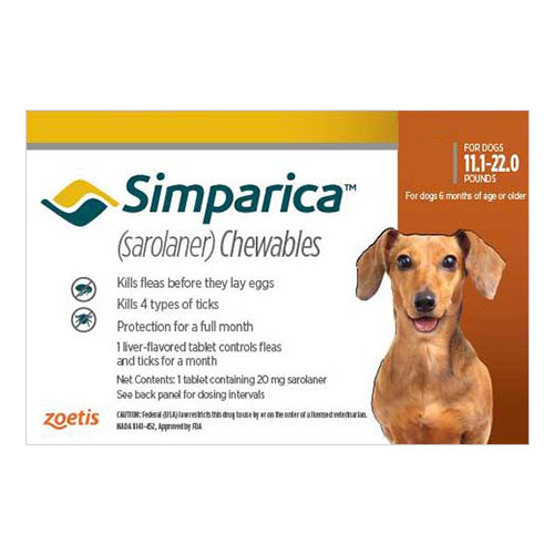 Simparica Flea & Tick Chewables for Dogs 11.1-22 lbs (Brown) 3 Pack
