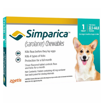Simparica Flea & Tick Chewables for Dogs 22.1-44 lbs (Blue)