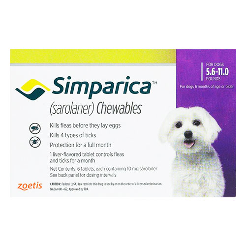 Simparica Flea & Tick Chewables for Dogs 5.6-11 lbs (Purple)