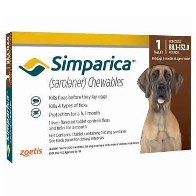Simparica Flea & Tick Chewables for Dogs 88.1-132 lbs (Red) 6 Pack