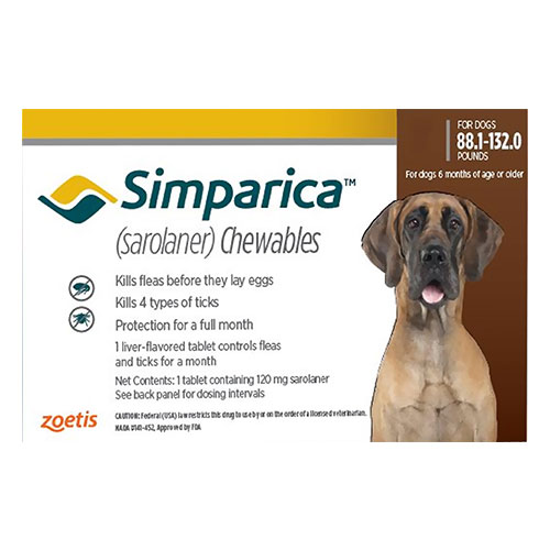 Simparica Flea & Tick Chewables for Dogs 88.1-132 lbs (Red)
